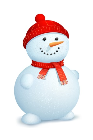 illustration of snowman wearing scarf and cap for Christmas Vector