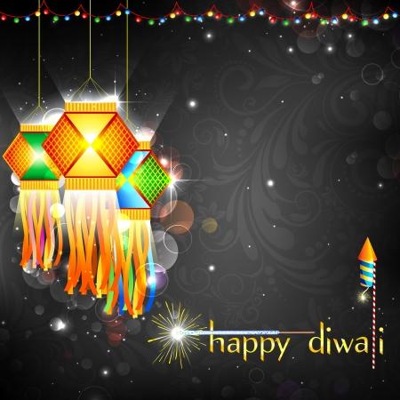 diwali: illustration of hanging lantern with firework in diwali night