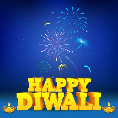 illustration of diwali wish with firework and diya in night sky Vector