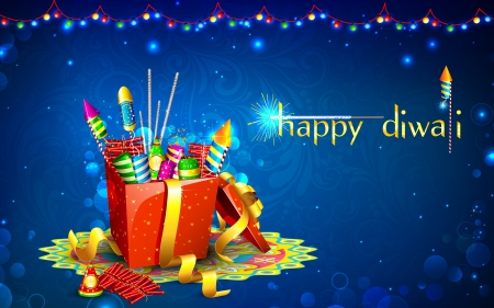 illustration of colorful firecracker in gift box for Diwali Vector