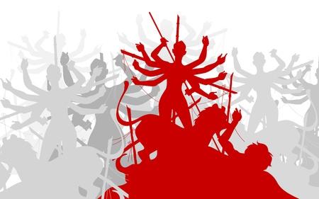 inmersion: ilustraci�n de la escultura de la diosa Durga asesinato Mahishasura Vectores
