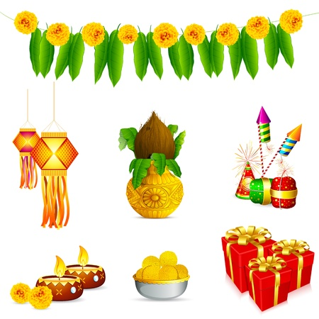 illustration of holy object and decoration for Indian festival Vector
