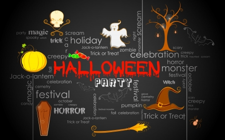 illustration of Halloween typography with different element Vector