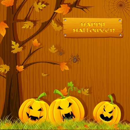 illustration of pumpkin carved for Halloween under autumn tree Vector