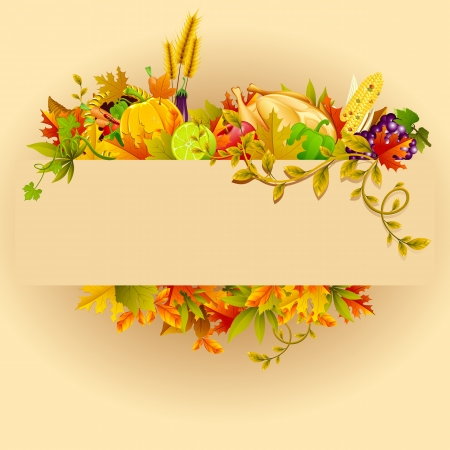 thanksgiving turkey: illustration of Thanksgiving celebration banner with maple leaf Illustration