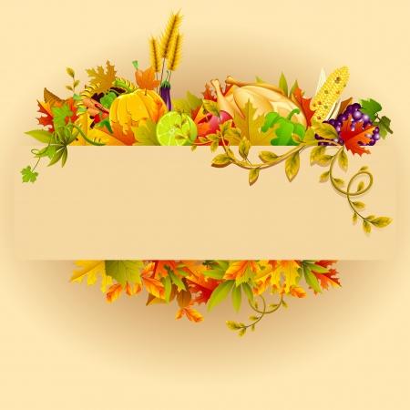 turkey thanksgiving: ilustraci�n de la bandera celebraci�n de Acci�n de Gracias con la hoja de arce Vectores