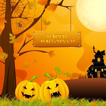 churchyard: illustration of jack-o-lantern pumpkin in halloween night