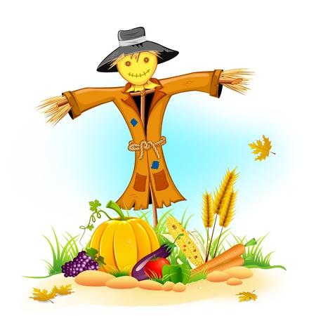 scarecrow: ilustraci�n del espantap�jaros con verduras de Acci�n de Gracias Vectores