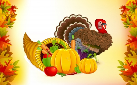thanksgiving cornucopia: illustration of fruits and vegetable in cornucopia with turkey for Thanksgiving