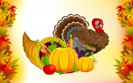cuerno de la abundancia: ilustración de frutas y hortalizas en cuerno de la abundancia con el pavo de Acción de Gracias Vectores