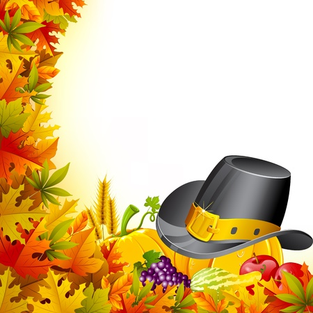 illustration of pumpkin for thanksgiving on maple leaf Vector