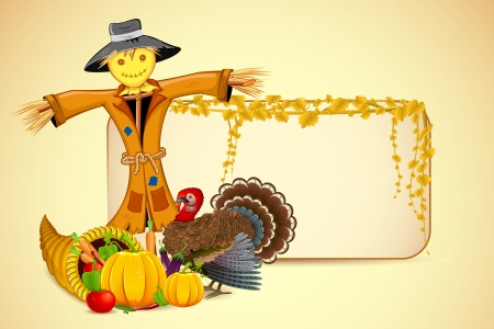 harvest festival: illustration of scarecrow with Thanksgiving vegetable