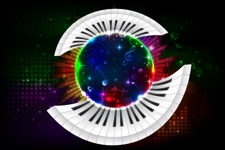 illustration of piano key on abstract musical background Vector