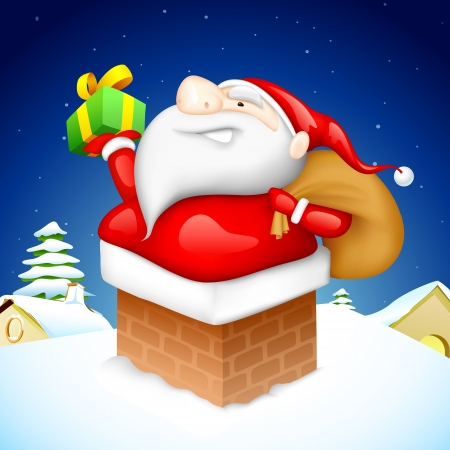 fire place: illustration of Santa CLaus entering through fire place pipe with gift