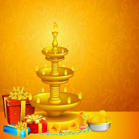 diwali: illustration of decorated diwali diya with gift box and sweet