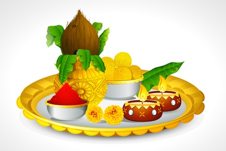 thali: illustration of puja thali with holy festival object