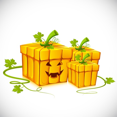 jack in a box: illustration of pumpkin shape gift box for halloween