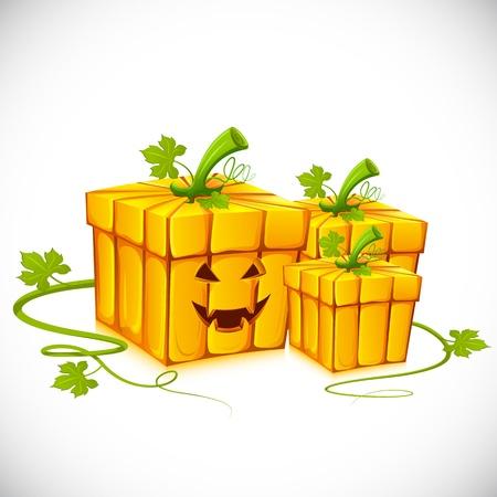 pumpkin head: illustration of pumpkin shape gift box for halloween