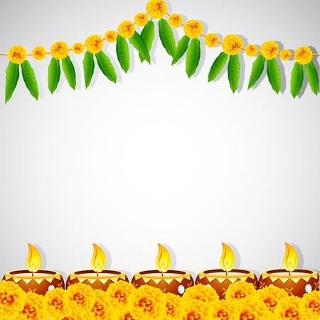 diwali greeting: illustration of burning decorated diya on colorful rangoli Illustration