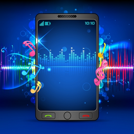 media gadget: illustration of music beats coming out of mobile phone