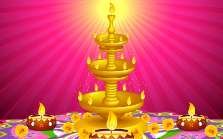 fire cracker: illustration of golden diya stand with flower decoration