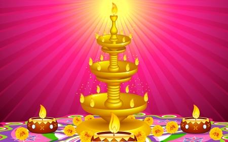 indian light: ilustraci�n de oro diya estar con decoraci�n de flores