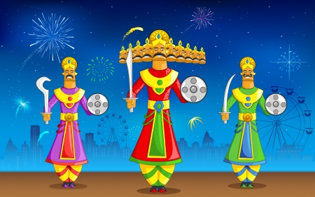 rama: illustration of Raavan Dahan for Dusshera celebration Illustration