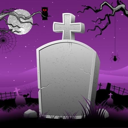 mortalidad: ilustraci�n de Happy Halloween en la tumba de piedra en la noche de miedo