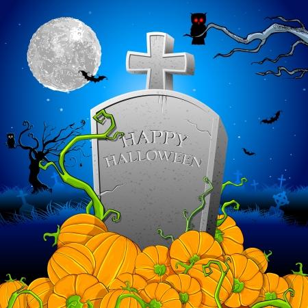 churchyard: illustration of pumpkin around tomb stone in Halloween night