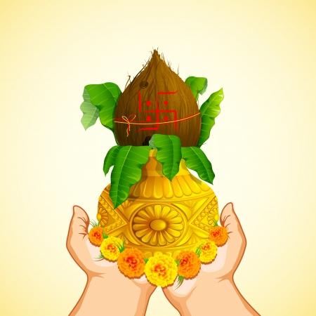 Ilustración de la mano femenina sosteniendo Kalash Mangal oro para la oración