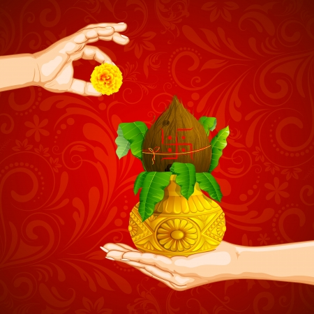 illustration of hand holding mangal kalash offering flower Vector