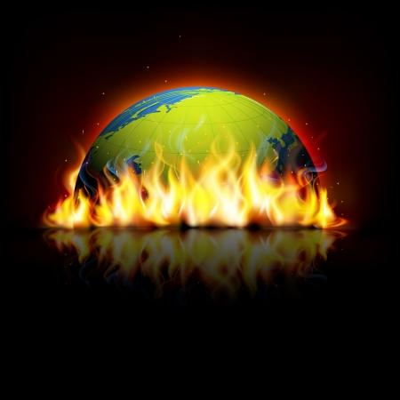 illustration of burning earth showing global warming