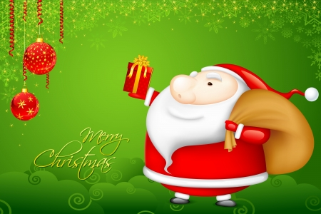 new year's cap: illustration of Santa Claus with Christmas gift
