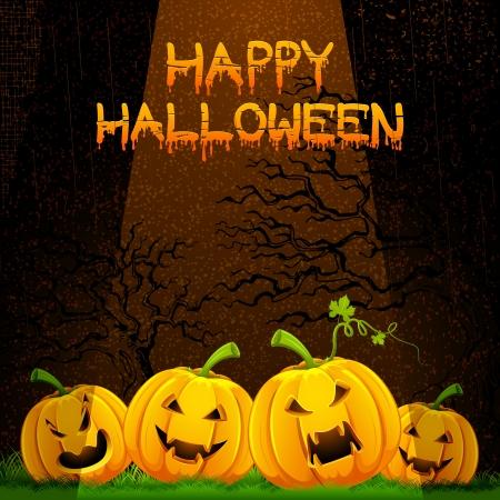 carved pumpkin: illustration of carved pumpkin in dark Halloween night Illustration