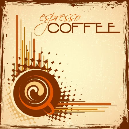 illustration of cup of hot coffee on abstract background Stock Vector - 15397168