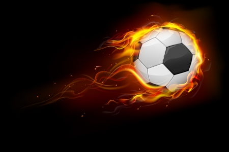 fire ball: illustration of fiery soccer ball showing speed