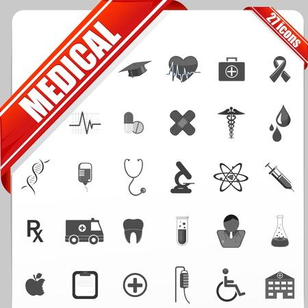stethoscope icon: illustration of set of simple medical icon set