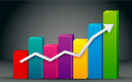 upward graph: illustration of colorful bar graph with rising arrow Illustration
