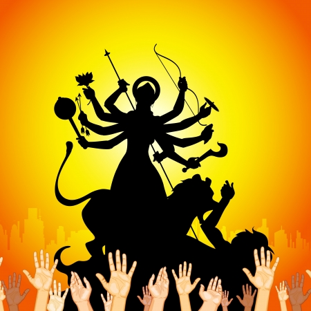 illustration of sculpture of goddess Durga killing Mahishasura Vector