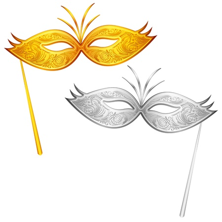 humor mask: illustration of pair of gold and silver carnival mask Illustration