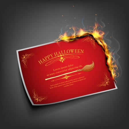 illustration of Halloween inviation card with fire Vector