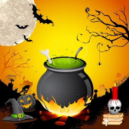 pocion: illustrartion de caldera con el cráneo en la noche de Halloween