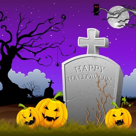 mortality: illustration of pumpkin around tomb stone in Halloween night