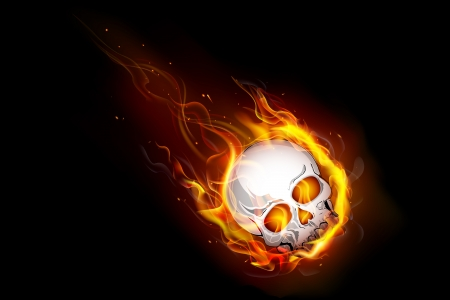 abstract danger: illustration of skull falling with fire flame Illustration