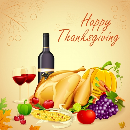 thanksgiving turkey: illustration of turkey, fruits and wine in Thanksgiving dinner Illustration
