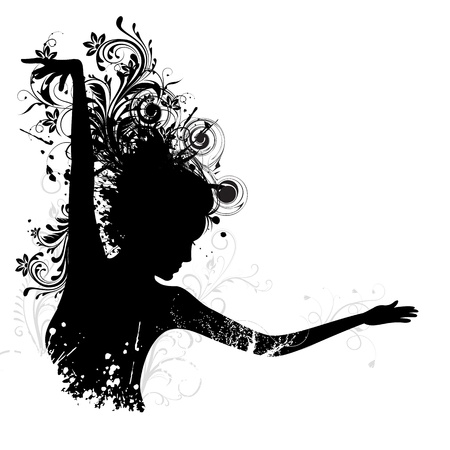 seductive woman: illustration of dancing floral lady on white background
