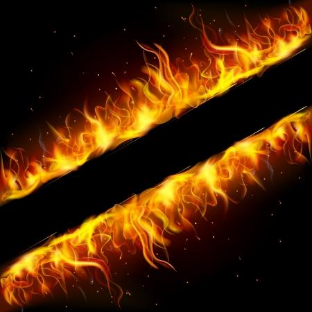 깜짝: 화재 불꽃으로 만든 프레임의 그림 일러스트