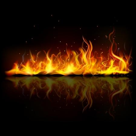 infierno: ilustraci�n de fuego ardiente llama sobre fondo negro Foto de archivo