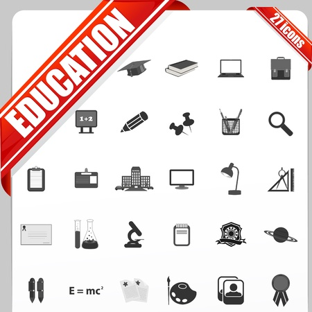 Education icon: illustration of set of simple education icon