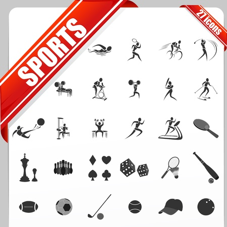 illustration of set of simple sports icon Stock Vector - 15469054